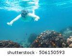 snorkeling underwater  active...   Shutterstock . vector #506150593