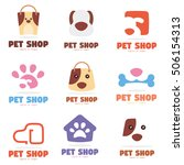 pet dog shop logo icon template ... | Shutterstock .eps vector #506154313