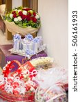 a bouquet of flowers  white and ... | Shutterstock . vector #506161933