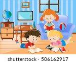 three kids reading in living... | Shutterstock .eps vector #506162917