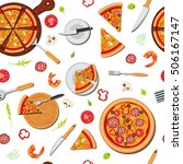 pizza seamless pattern with... | Shutterstock . vector #506167147
