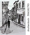 typical street in lisbon  ...   Shutterstock .eps vector #506181793
