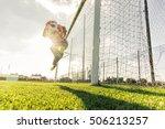 goalkeeper catches the ball at...   Shutterstock . vector #506213257