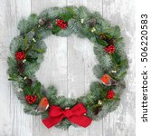 christmas wreath with robin...   Shutterstock . vector #506220583