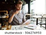 workaholic businessman on break ... | Shutterstock . vector #506276953