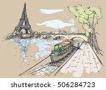 vector illustration of eiffel... | Shutterstock .eps vector #506284723
