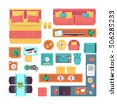 furniture top view set for... | Shutterstock .eps vector #506285233