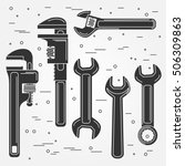 set of flat wrench icon. vector ... | Shutterstock .eps vector #506309863