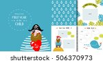 vector photo book with cartoon... | Shutterstock .eps vector #506370973