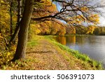 autumn forest near the lake | Shutterstock . vector #506391073
