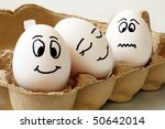 white eggs with different faces ... | Shutterstock . vector #50642014
