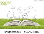 open book of happy family... | Shutterstock .eps vector #506427583