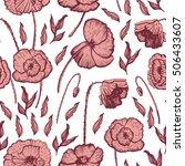 poppies decorative pattern boho ... | Shutterstock .eps vector #506433607