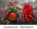 spicy chili sauce  ketchup | Shutterstock . vector #506436253