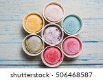 top view ice cream flavors in...   Shutterstock . vector #506468587