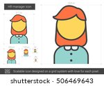 hr manager vector line icon... | Shutterstock .eps vector #506469643