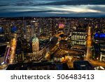 Stock photo aerial city view of vancouver downtown bc canada taken during a cloudy night after a beautiful 506483413