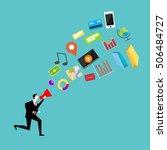 human hand holding megaphone... | Shutterstock .eps vector #506484727