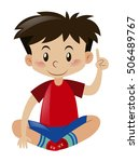 boy in red shirt pointing... | Shutterstock .eps vector #506489767