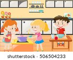 three kids cooking and eating... | Shutterstock .eps vector #506504233