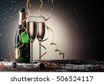 bottle of champagne and filled... | Shutterstock . vector #506524117