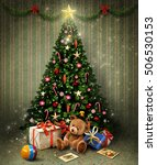 holiday greeting card with ... | Shutterstock . vector #506530153