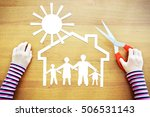 Small photo of Little girl dreaming about home and large amicable family. Conceptual image with paper scrapbooking