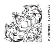 vintage baroque corner scroll... | Shutterstock .eps vector #506549113