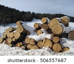 stack of firewood covered by... | Shutterstock . vector #506557687
