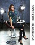 beautiful young woman sitting...   Shutterstock . vector #506585203