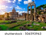 Small photo of Forum of Caesar in Rome, Italy. Architecture and landmark of Rome. Antique Rome