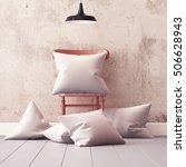 mockup pillows in the interior. ... | Shutterstock . vector #506628943