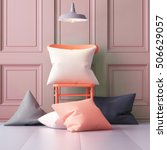 mockup pillows in the interior. ... | Shutterstock . vector #506629057