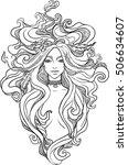 portrait of mystic girl. spirit ... | Shutterstock .eps vector #506634607
