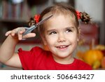 cute little girl cutting hair... | Shutterstock . vector #506643427