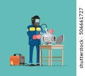 welder at work. vector... | Shutterstock .eps vector #506661727