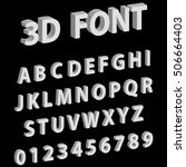 3d font letters and numbers of... | Shutterstock .eps vector #506664403