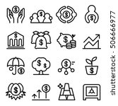 saving money icon set in thin... | Shutterstock .eps vector #506666977