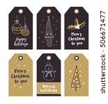 set of merry christmas gift... | Shutterstock .eps vector #506671477