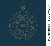 merry christmas line icons... | Shutterstock .eps vector #506694277