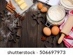 christmas baking ingredients  ...   Shutterstock . vector #506697973