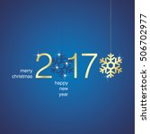 gold 2017 new year snowflakes... | Shutterstock .eps vector #506702977