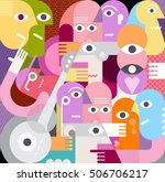 a large company of people who... | Shutterstock .eps vector #506706217