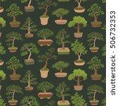 bonsai tree vector pattern   Shutterstock .eps vector #506732353