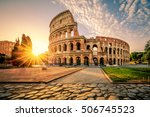 colosseum in rome at sunrise ... | Shutterstock . vector #506745523