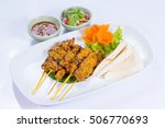 moo satay  pork satay  thai...   Shutterstock . vector #506770693
