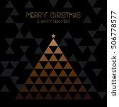 gold  geometric christmas tree...   Shutterstock .eps vector #506778577