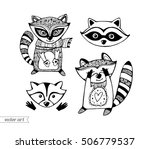 raccoons isolated. cute cartoon ... | Shutterstock .eps vector #506779537
