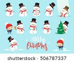 snowman christmas  character... | Shutterstock .eps vector #506787337