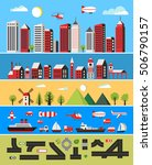 illustration of a flat city... | Shutterstock . vector #506790157